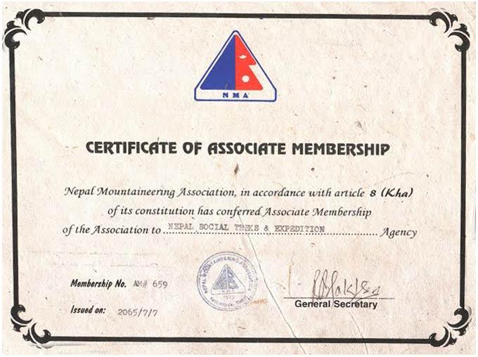 Nepal Mountaineering Association Membership #659